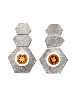 Roku Silver Handmade Earrings Natural Citrine Eugen Steier
