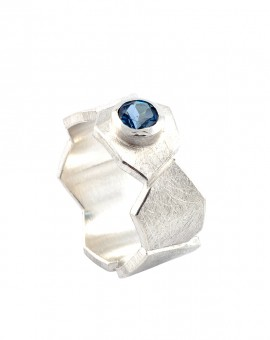 Roku Silver Handmade Ring Natural London Blue Topaz Eugen Steier