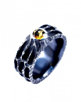Handmade Oxidised Moon Ring Citrine Eugen Steier