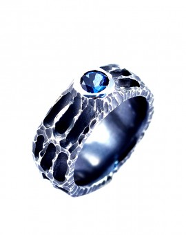 Handmade Oxidised Moon Ring London Blue Topaz Eugen Steier