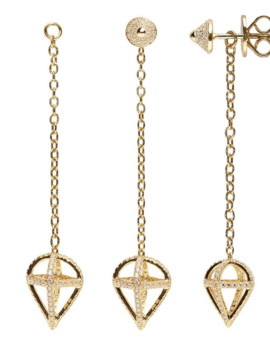 Ace Gold Interchangeable Earrings Drop Pendant Joubi London