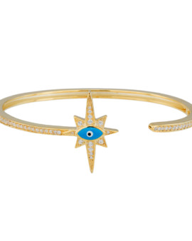 Stargazer Gold CZ Bracelet Hand Painted Evil Eye Joubi London