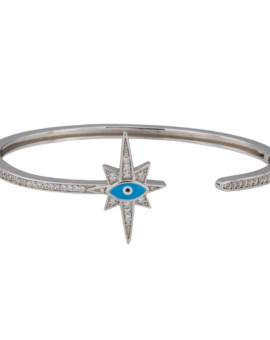 Stargazer Rhodium Silver CZ Bracelet Hand Painted Evil Eye Joubi London