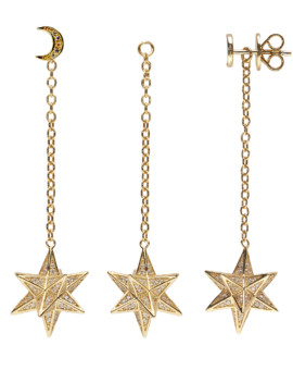 Supernova Interchangable Gold CZ Earrings Joubi London