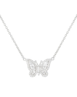 Silver Swarovski Crystal Butterfly Necklace Joubi London