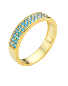 Spectrum Ring Gold Turquoise CZ Joubi London