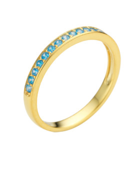 Spectrum Ring Single Row Yellow Gold Turquoise CZ Joubi London