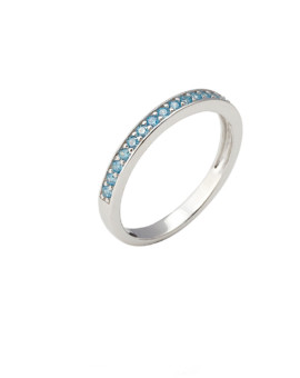 Spectrum Ring Single Row White Gold Blue CZ Joubi London