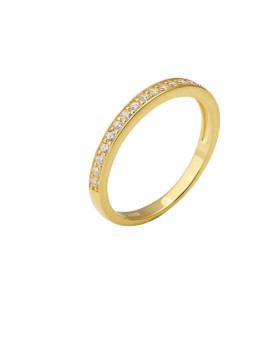 Spectrum Ring Single Row Yellow Gold White CZ Joubi London