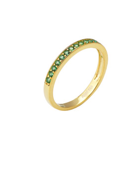 Spectrum Ring Single Row Yellow Gold Emerald CZ Joubi London