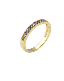 Spectrum Ring Single Row Yellow Gold Purple CZ Joubi London