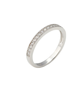 Spectrum Ring Single Row White Gold White CZ Joubi London