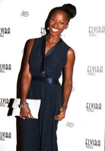 Jamelia wears the white gold Link bracelet at the Elvira Vintage party in London
