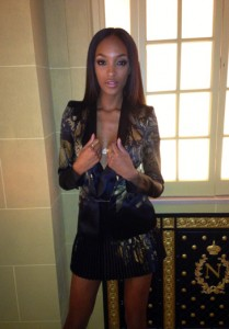 Jourdan Dunn wears the Adhara Bodychain to the W Issue Launch during London Fashion Week