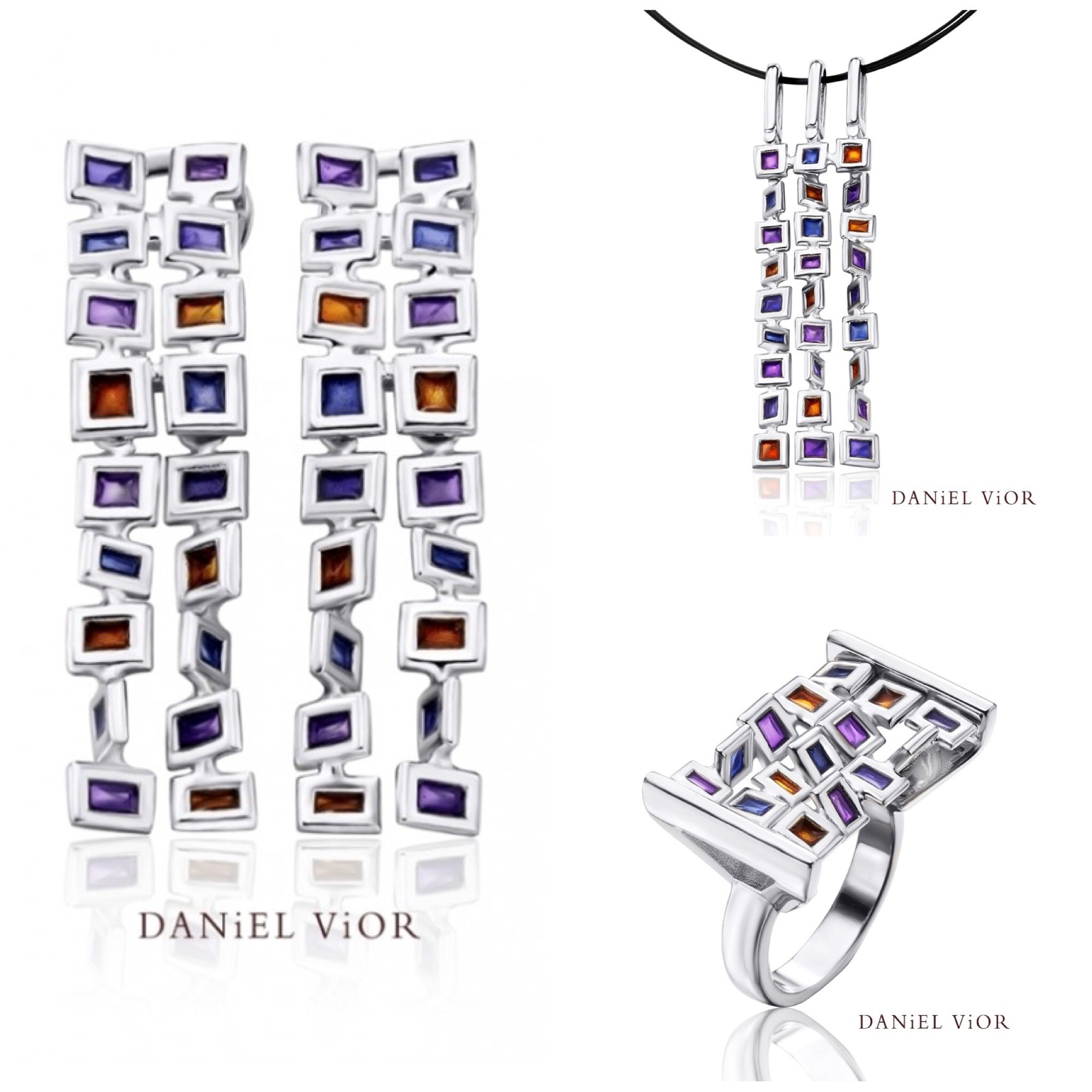 Cuadros Silver Handmade Violet Enamel Collection by Daniel Vior