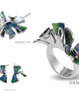 Alga Silver Handmade Green Enamel Collection by Daniel Vior