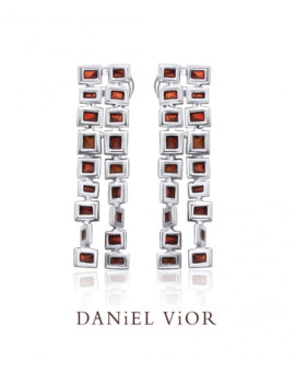 Cuadros Silver Handmade Red Enamel Earrings by Daniel Vior
