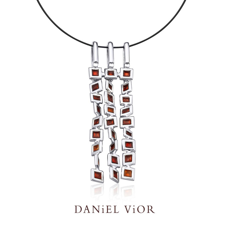 Cuadros Silver Handmade Red Enamel Necklace by Daniel Vior