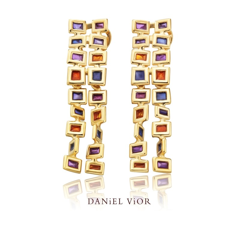 Cuadros Handmade 18ct Gold Earrings by Daniel Vior