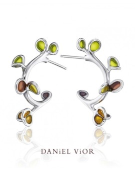 Branca Handmade Silver Green Earrings by Daniel Vior