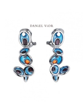 Opuntia Silver Handmade Blue Enamel Earrings by Daniel Vior