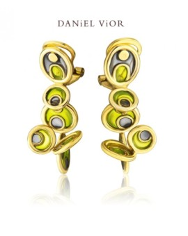 Opuntia 18ct Gold Handmade Earrings by Daniel Vior