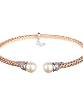 Entwined Rose Gold Pearl Bracelet Vamp London