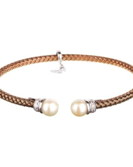 Entwined Chocolate Gold Pearl Bracelet Vamp London