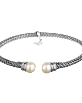 Entwined Oxidised Pearl Bracelet Vamp London