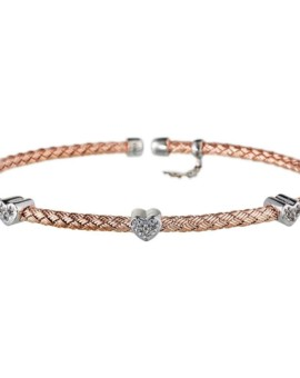 Entwined Rose Gold Hearts Bracelet Vamp London