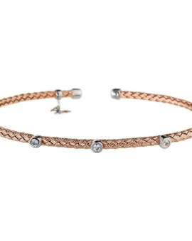 Entwined Rose Gold Dainty CZ Bracelet Vamp London