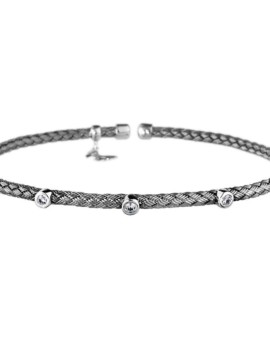 Entwined Oxidised Dainty CZ Bracelet Vamp London