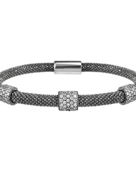 Mesh Oxidised 3 Cluster Bracelet Vamp London
