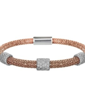 Mesh Rose Gold 3 Cluster Bracelet Vamp London