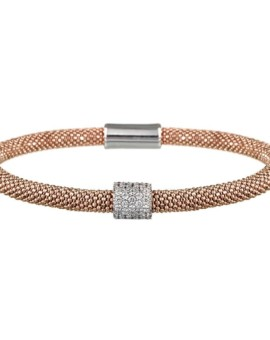 Mesh Rose Gold CZ Cluster Bracelet Vamp London