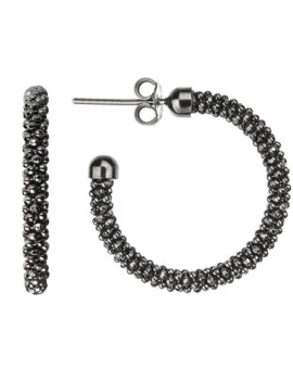 Mesh Oxidised Hoops Earrings Vamp London