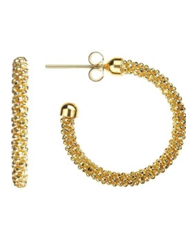 Mesh Gold Hoops Earrings Vamp London