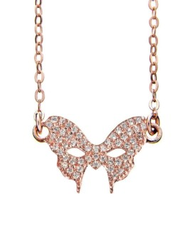 Masquerade Mask CZ Rose Gold Necklace Vamp London