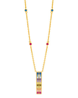 Rainbow Oblong Gold Necklace Joubi London