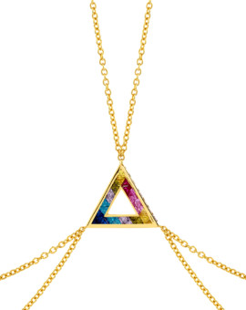 Rainbow Aurora Gold Body Chain Handmade Joubi London