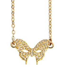 Masquerade Mask CZ Gold Necklace Vamp