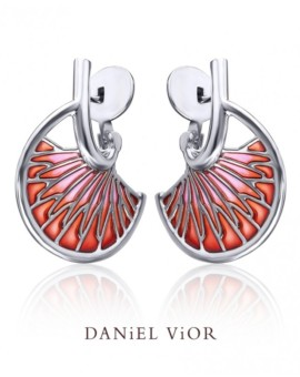 Tarsus Silver Handmade Red Enamel Earrings by Daniel Vior