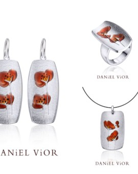 Silver Collection Handmade Flors Brown Enamel by Daniel Vior