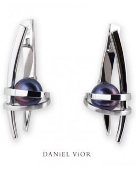 Asir Handmade Silver Black Pearl Earrings by Daniel Vior