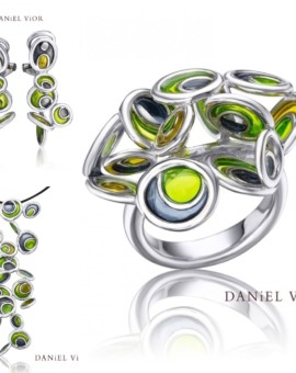 Opuntia Silver Handmade Green Enamel Collection by Daniel Vior