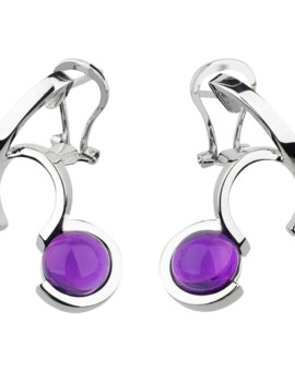 Arcs Silver Handmade Amethyst Earrings by Daniel Vior