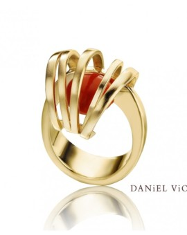 Asir Handmade 18ct Gold Coral Ring by Daniel Vior