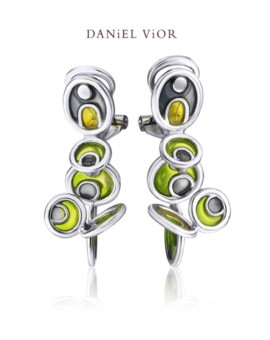 Opuntia Silver Handmade Green Enamel Earrings by Daniel Vior
