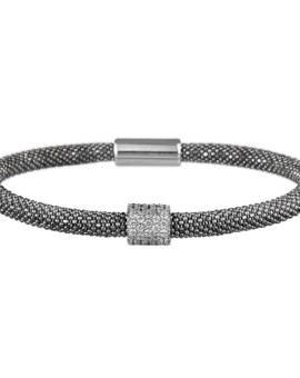 Mesh Oxidised CZ Cluster Bracelet Vamp London