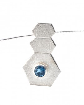Roku Silver Handmade Necklace Natural London Blue Topaz Eugen Steier